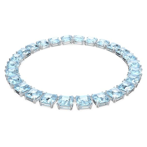 Millenia necklace, Square cut crystals, Blue, Rhodium plated - Swarovski, 5609704