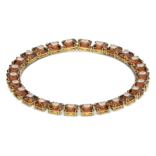 Collana Millenia, Cristalli taglio quadrato, Giallo, Placcato color oro - Swarovski, 5609705