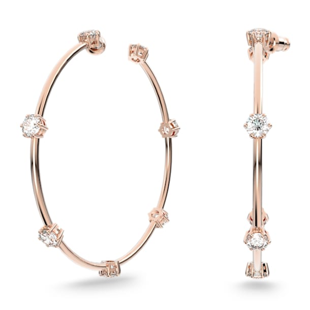 Constella hoop earrings, White, Rose-gold tone plated - Swarovski, 5609706
