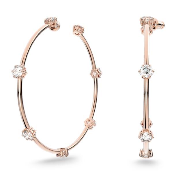 Constella hoop earrings, White, Rose gold-tone plated - Swarovski, 5609706