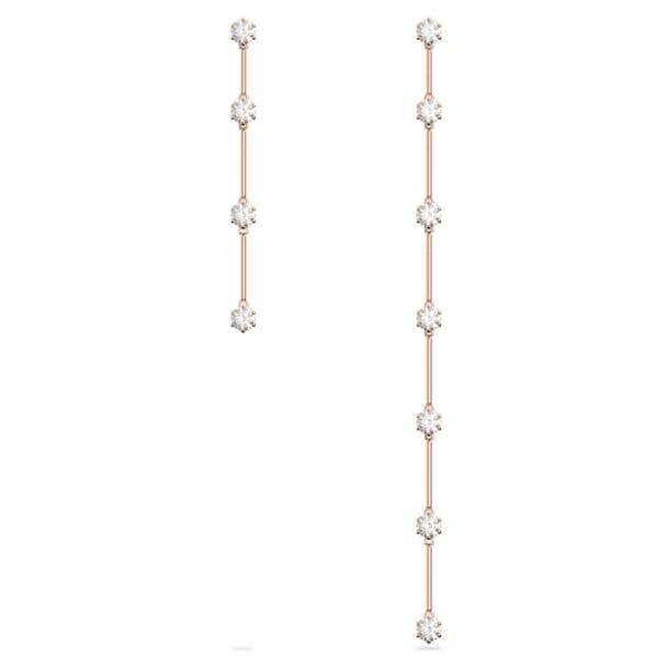 Σκουλαρίκια Constella, Ασύμμετρα σταγονοειδή κρύσταλλα, Λευκό, Επιμετάλλωση σε ροζ χρυσαφί τόνο - Swarovski, 5609707