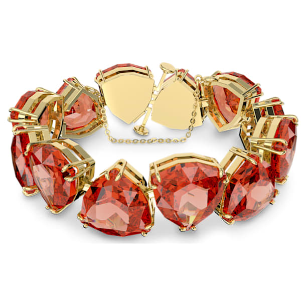 Millenia bracelet, Triangle cut crystals, Orange, Gold-tone plated - Swarovski, 5609713