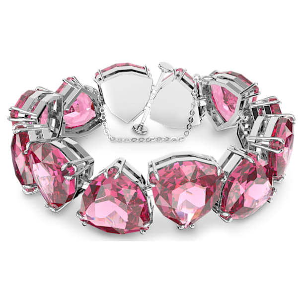 Millenia bracelet, Triangle cut crystals, Pink, Rhodium plated - Swarovski, 5609714