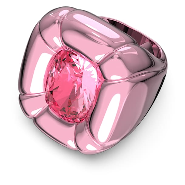 Dulcis cocktail ring, Cushion cut crystals, Pink - Swarovski, 5609721