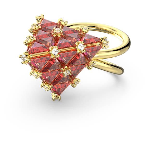 Curiosa cocktail ring, Triangle, Orange, Gold-tone plated - Swarovski, 5610289