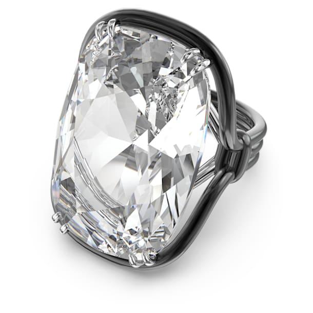 Harmonia ring, Oversized floating crystal, White, Mixed metal finish - Swarovski, 5610343