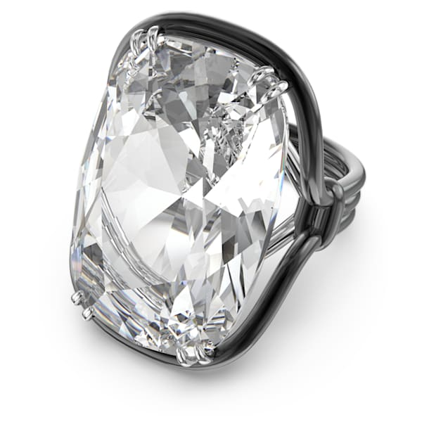 Harmonia ring, Oversized floating crystal, White, Mixed metal finish - Swarovski, 5610343