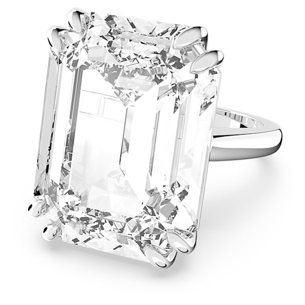 Mesmera cocktail ring, Octagon cut crystal, White, Rhodium plated - Swarovski, 5610383