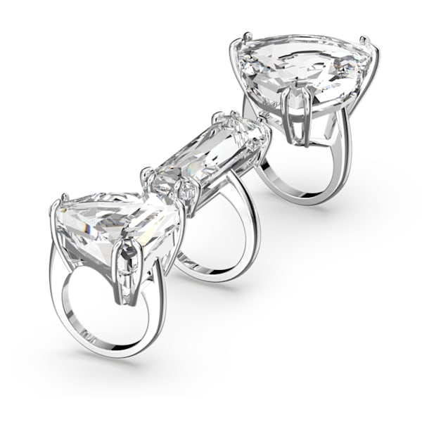 Mesmera cocktail ring, Set (3), White, Rhodium plated - Swarovski, 5610385