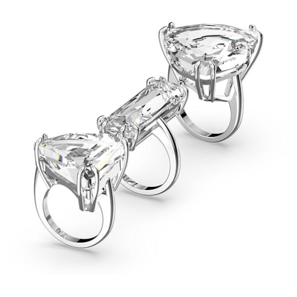 Mesmera cocktail ring, Set (3), White, Rhodium plated - Swarovski, 5610386