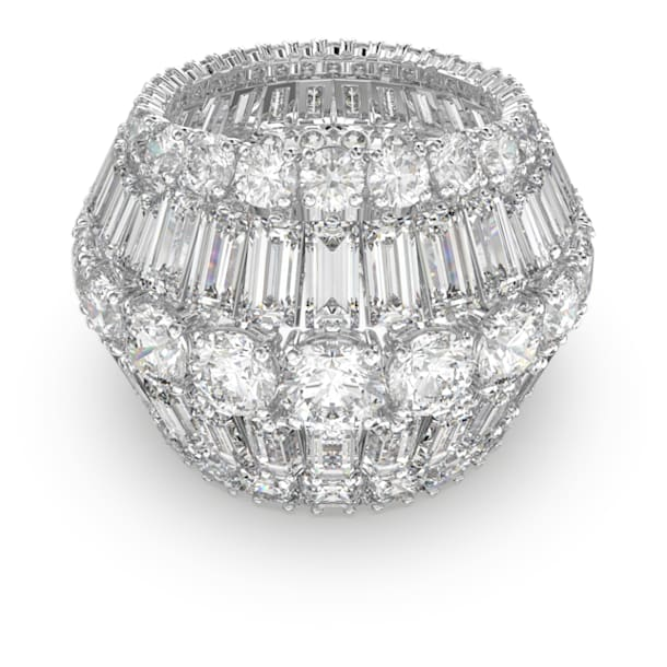 Hyperbola Cocktail Ring, Weiss, Rhodiniert - Swarovski, 5610392