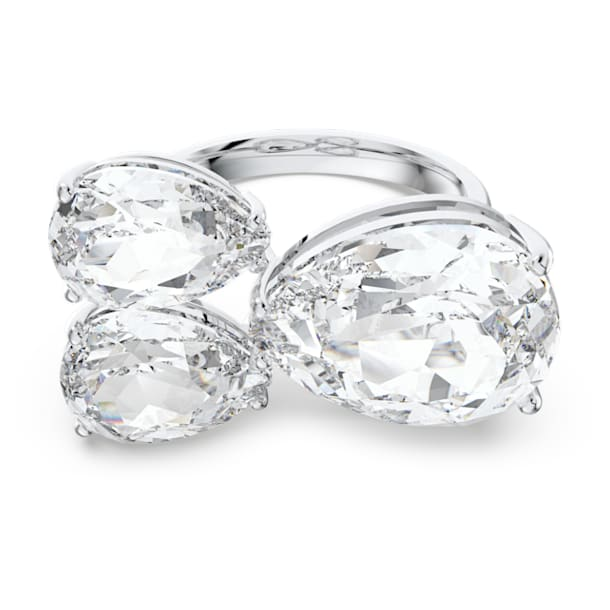 Millenia cocktail ring, Pear cut crystals, White, Rhodium plated - Swarovski, 5610394