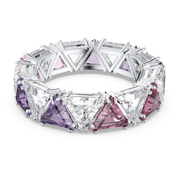 Millenia cocktail ring, Triangle cut crystals, Purple, Rhodium plated - Swarovski, 5610398