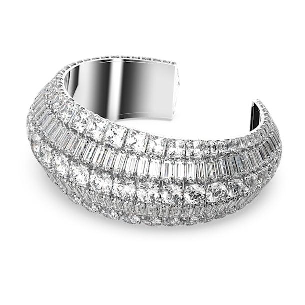 Hyperbola cuff armband, Wit, Rodium toplaag - Swarovski, 5610401