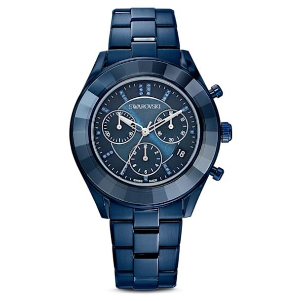 Octea Lux Sport watch, Metal bracelet, Blue PVD - Swarovski, 5610475