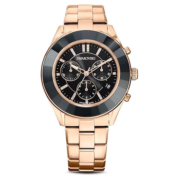 Octea Lux Sport horloge, Metalen armband, Zwart, Roségoudkleurig PVD - Swarovski, 5610478
