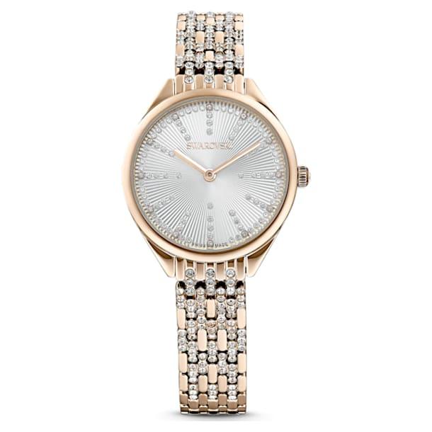 Attract Uhr, Metallarmband, Weiss, Goldegierungsschicht PVD-Finish - Swarovski, 5610484