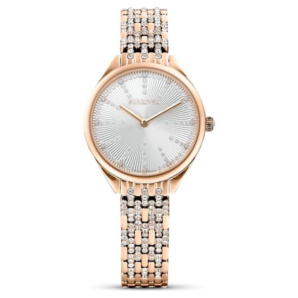 Attract horloge, Metalen armband, Wit, Roségoudkleurig PVD - Swarovski, 5610487