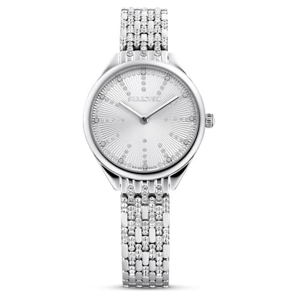 Attract horloge, Metalen armband, Wit, Roestvrij staal - Swarovski, 5610490