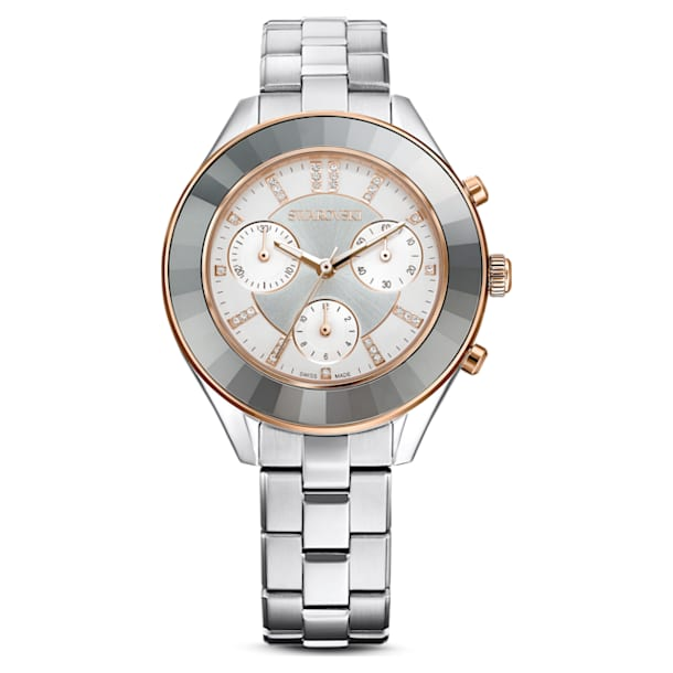 Octea Lux Sport watch, Metal bracelet, White, Stainless steel - Swarovski, 5610494