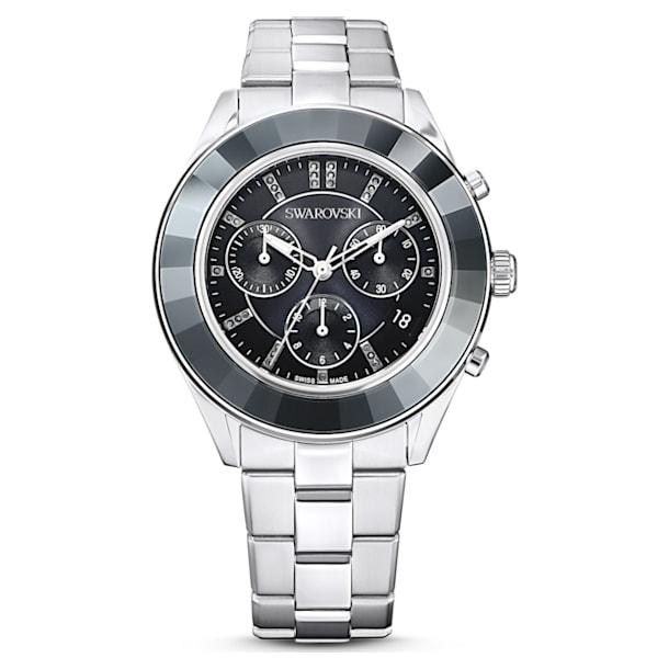Octea Lux Sport watch, Metal bracelet, Black, Stainless steel - Swarovski, 5610520