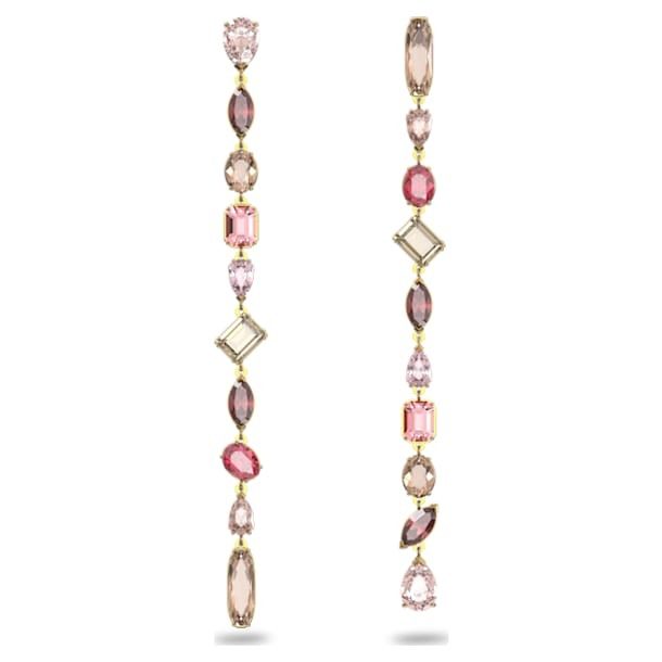 Gema drop earrings, Extra long, Multicolored, Gold-tone plated - Swarovski, 5610725