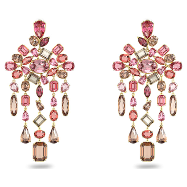 Gema clip earrings, Chandelier, Multicolored, Gold-tone plated - Swarovski, 5610754