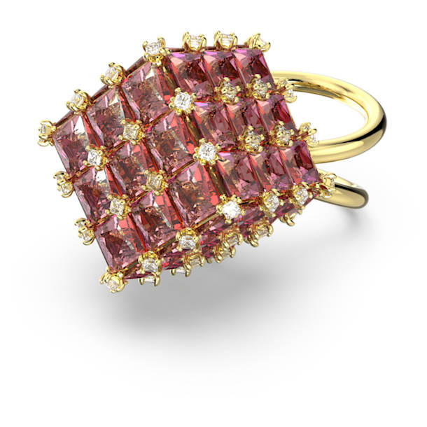 Curiosa cocktail ring, Square, Orange, Gold-tone plated - Swarovski, 5610818
