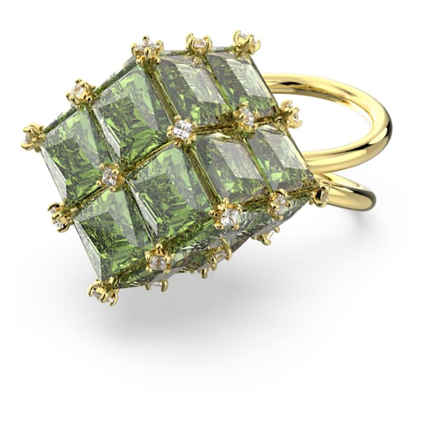 Curiosa cocktail ring, Square, Green, Gold-tone plated - Swarovski, 5610830