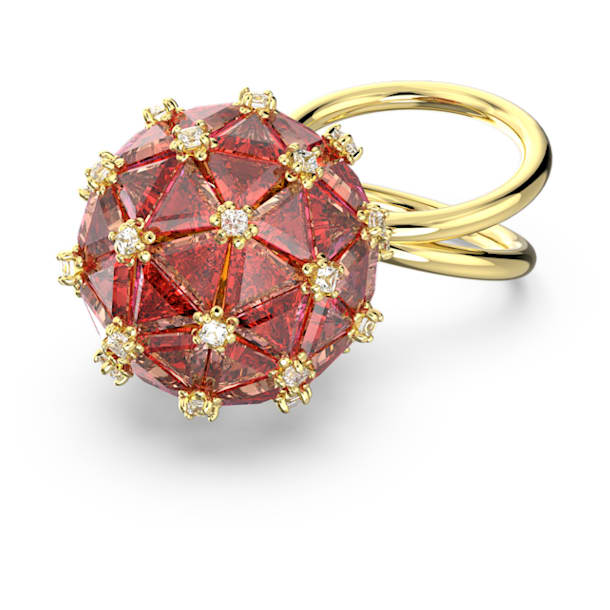 Curiosa cocktail ring, Circle, Orange, Gold-tone plated - Swarovski, 5610909