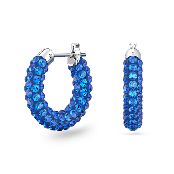 Tigris Hoop Earrings, Blue, Rhodium plated - Swarovski, 5610955
