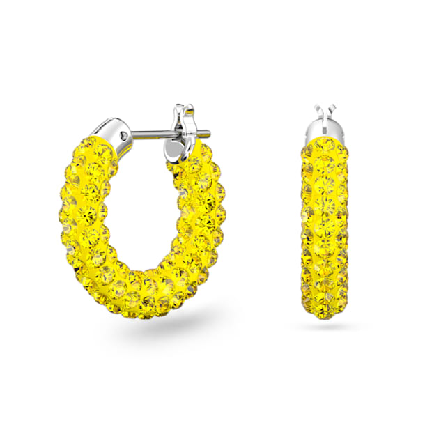 Tigris hoop earrings, Yellow, Rhodium plated - Swarovski, 5610958