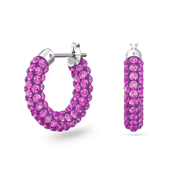 Tigris Hoop Earrings, Pink, Rhodium plated - Swarovski, 5610961