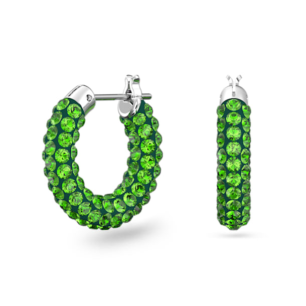Tigris hoop earrings, Green, Rhodium plated - Swarovski, 5610962