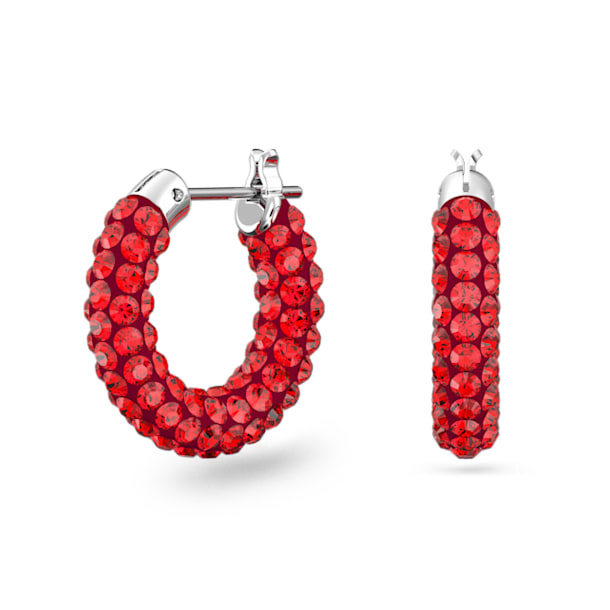 Tigris hoop earrings, Red, Rhodium plated - Swarovski, 5610963