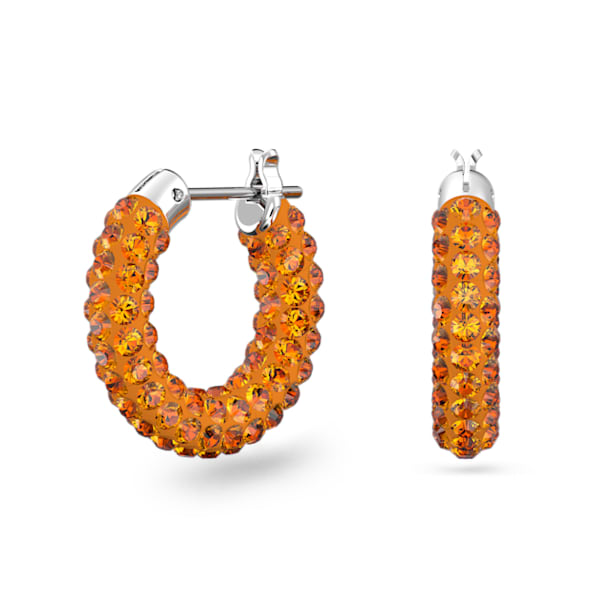 Tigris hoop earrings, Orange, Rhodium plated - Swarovski, 5610986