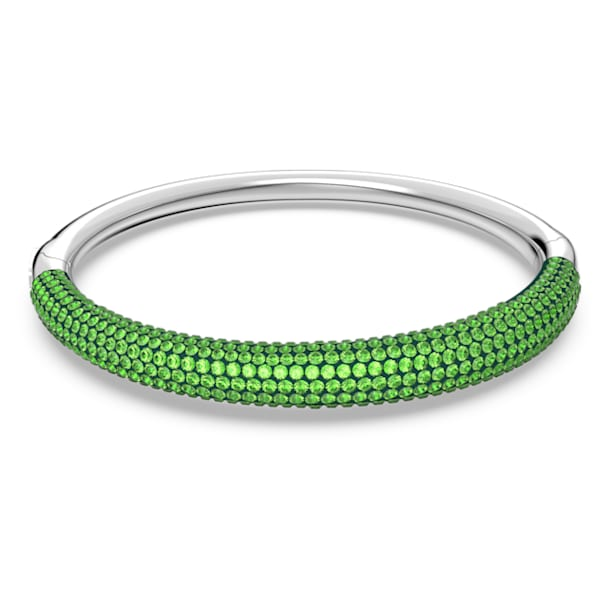 Tigris bangle, Green, Rhodium plated - Swarovski, 5611189