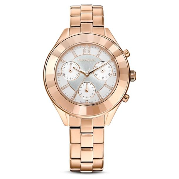 Octea Lux Sport watch, Metal bracelet, White, Rose-gold tone PVD - Swarovski, 5612194