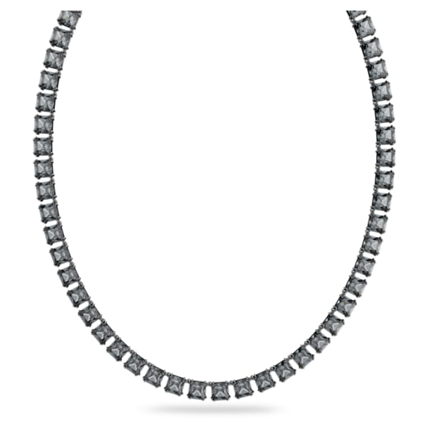Collar Millenia, Cristales de talla cuadrado, Gris, Baño de rodio - Swarovski, 5612683