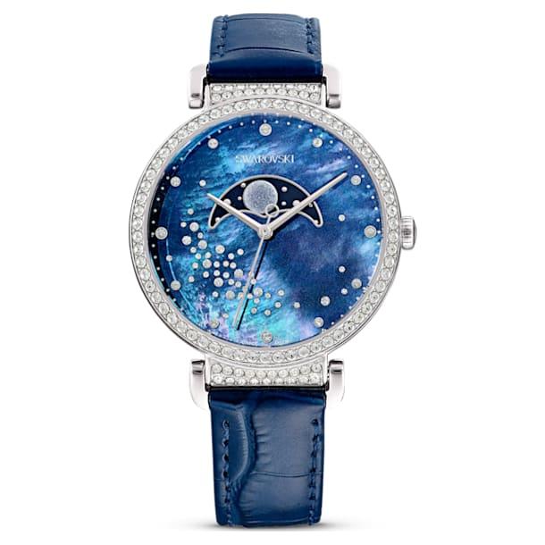 Passage Moon Phase 腕表, 真皮表带, 蓝色, 不锈钢 - Swarovski, 5613320