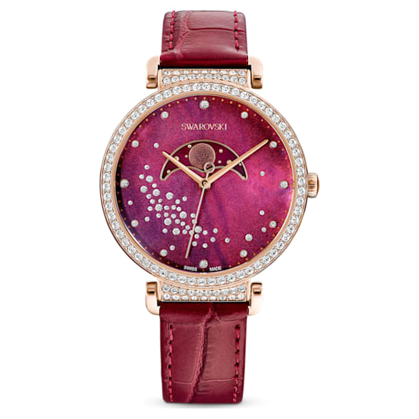 Passage Moon Phase watch, Leather strap, Red, Rose-gold tone PVD - Swarovski, 5613323