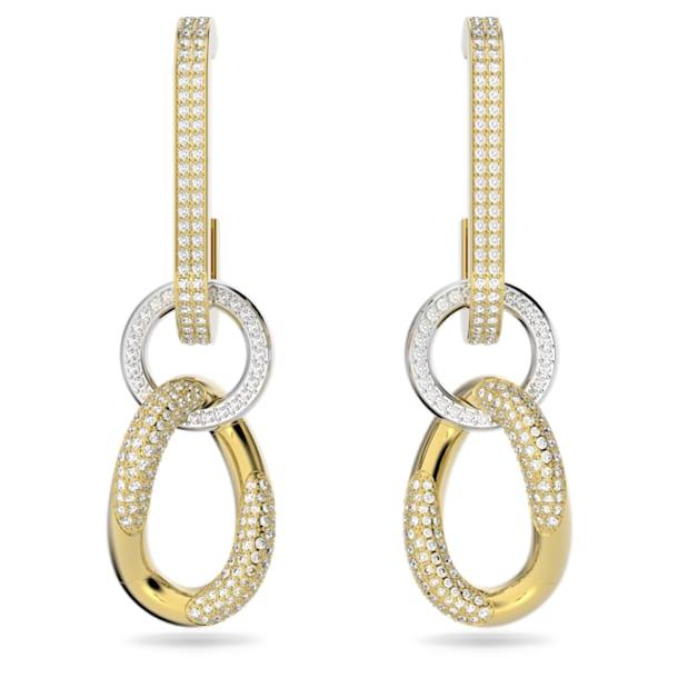 Σκουλαρίκια Dextera, Λευκό, Επιμετάλλωση σε χρυσαφί τόνο - Swarovski, 5613385
