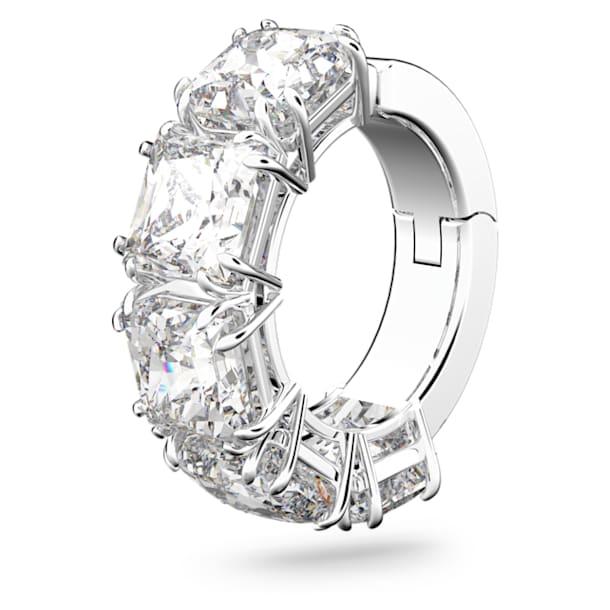 Pendiente ear cuff Millenia, Individual, Cristal de talla cuadrada, Blanco, Baño de rodio - Swarovski, 5613641