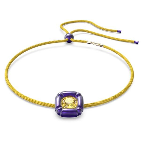 Dulcis necklace, Cushion cut crystals, Purple - Swarovski, 5613645