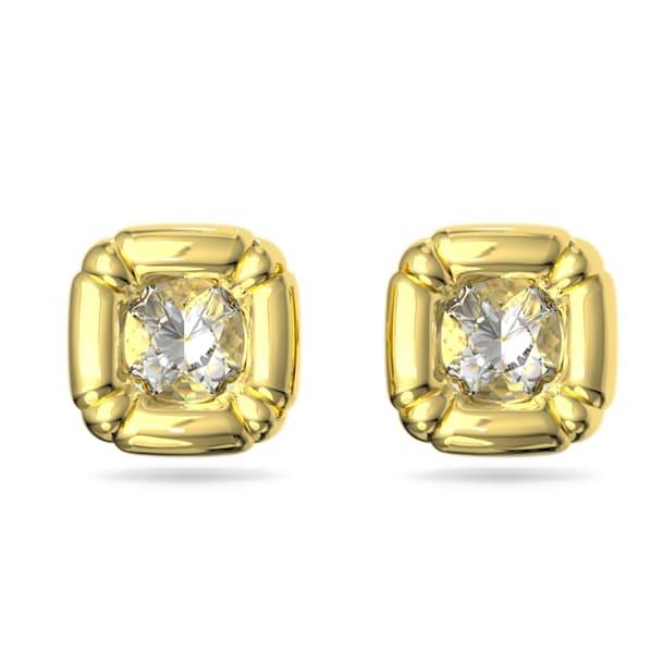 Pendientes de botón Dulcis, Cristales de talla cushion, Amarillo, Baño tono oro - Swarovski, 5613658
