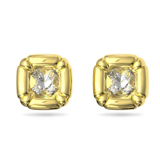 Dulcis stud earrings, Cushion cut crystals, Yellow, Gold-tone plated - Swarovski, 5613658
