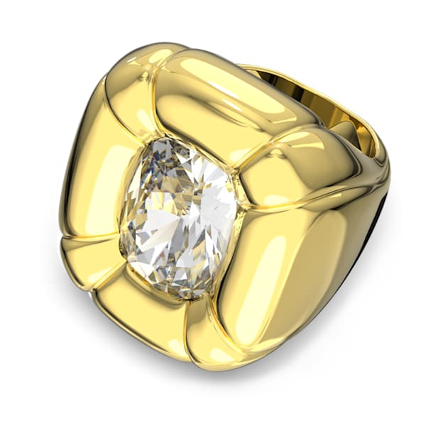 Dulcis cocktail ring, Cushion cut crystals, Yellow, Gold-tone plated - Swarovski, 5613659