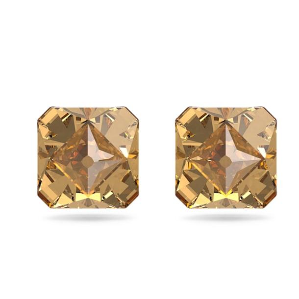Pendientes de botón Chroma, Cristales de talla piramidal, Amarillo, Baño tono oro - Swarovski, 5613680