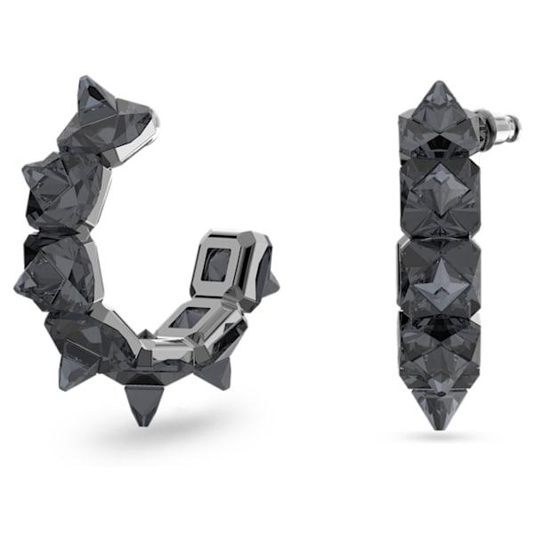 Chroma hoop earrings, Pyramid cut crystals, Grey, Ruthenium plated - Swarovski, 5613681