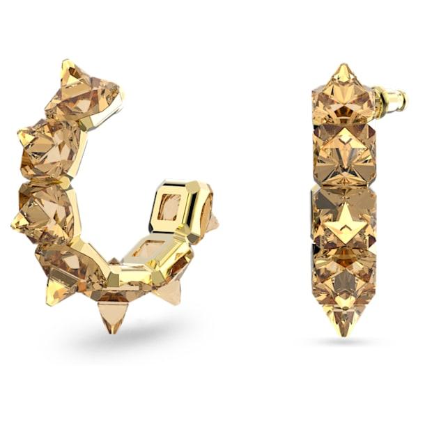 Pendientes de aro Chroma, Cristales de talla piramidal, Amarillo, Baño tono oro - Swarovski, 5613722